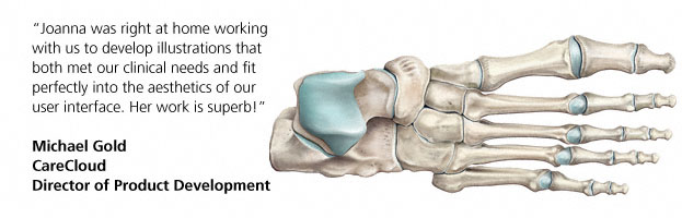 Testimonial from CareCloud including illustration of bony anatomy of the foot
