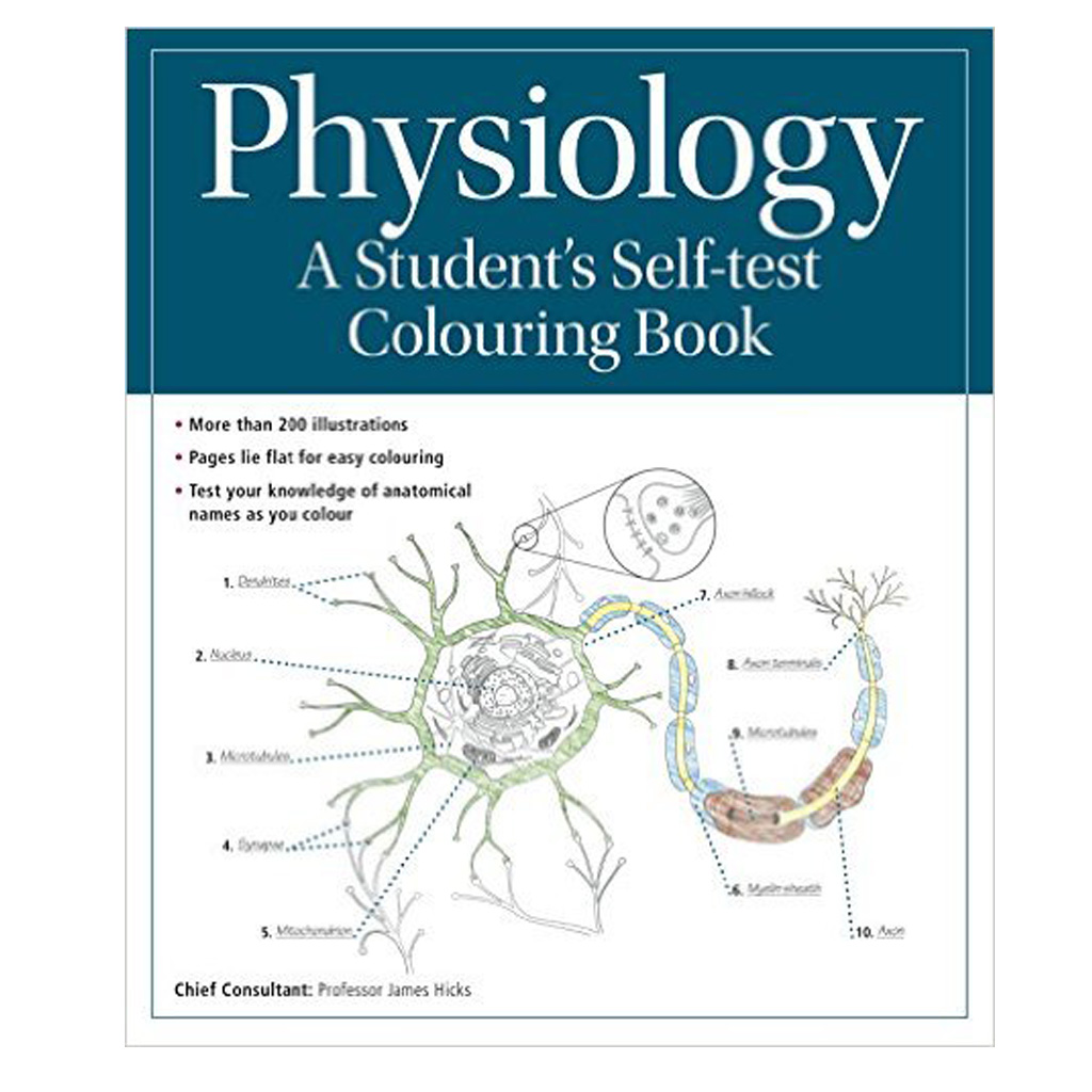 Physiology colouring book for students cover illustration